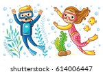 a boy and a girl swim under the ... | Shutterstock .eps vector #614006447