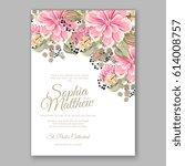 peony wedding invitation... | Shutterstock .eps vector #614008757