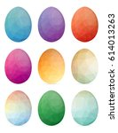 set of easter eggs with... | Shutterstock .eps vector #614013263