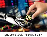 cyber communication   robotic   ... | Shutterstock . vector #614019587