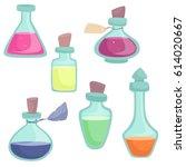 vector cartoon bottles with... | Shutterstock .eps vector #614020667