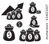 silhouettes with bags of money... | Shutterstock .eps vector #614021027