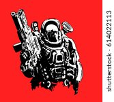 heavy space marine in suit with ... | Shutterstock .eps vector #614022113