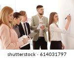 business trainer giving... | Shutterstock . vector #614031797