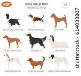 hunting dog breeds set icon... | Shutterstock .eps vector #614033807