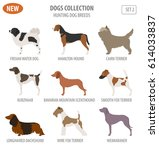 hunting dog breeds set icon... | Shutterstock .eps vector #614033837