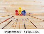 box of watercolor paints  art... | Shutterstock . vector #614038223