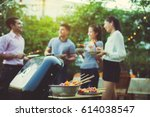 dinner party  barbecue and... | Shutterstock . vector #614038547