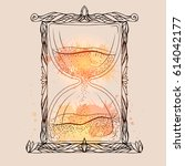 illustration of an hourglass... | Shutterstock .eps vector #614042177