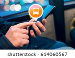 woman using mobile phone app to ... | Shutterstock . vector #614060567