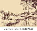 landscape drawing. river flow... | Shutterstock .eps vector #614072447