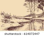 Landscape drawing. River flow and vegetation