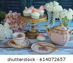 afternoon tea with vintage pink ... | Shutterstock . vector #614072657