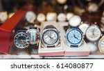 men wrist watches in a showcase ... | Shutterstock . vector #614080877