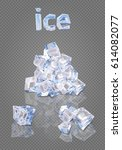 heap of ice cubes | Shutterstock .eps vector #614082077