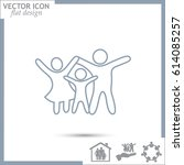 line icon  a family | Shutterstock .eps vector #614085257