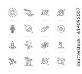 astronomy vector line icons ... | Shutterstock .eps vector #614092007