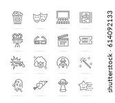 movie and cinema vector line... | Shutterstock .eps vector #614092133