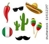 mexican set  | Shutterstock . vector #614112197