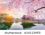gyeongbokgung palace with...   Shutterstock . vector #614113493