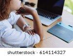 asian girl graphic designer... | Shutterstock . vector #614114327