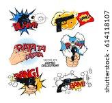 set of bubbles speech  comic... | Shutterstock .eps vector #614118107