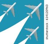set airplane flying design | Shutterstock .eps vector #614120963