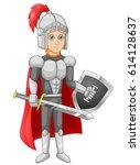 cartoon knight boy vector...   Shutterstock .eps vector #614128637