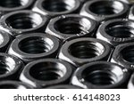 hex nuts of steel closeup   Shutterstock . vector #614148023