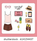hand drawn fashion vector... | Shutterstock .eps vector #614154437