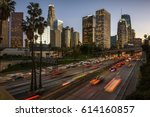 traffic in downtown los angeles ... | Shutterstock . vector #614160857