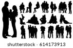 collection of silhouettes... | Shutterstock .eps vector #614173913