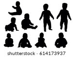 collection of baby silhouettes | Shutterstock .eps vector #614173937