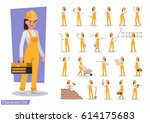 construction worker character... | Shutterstock .eps vector #614175683