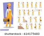 construction worker character... | Shutterstock .eps vector #614175683