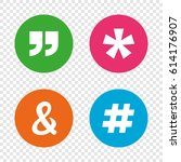 quote  asterisk footnote icons. ... | Shutterstock .eps vector #614176907