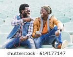 two black race friends having... | Shutterstock . vector #614177147