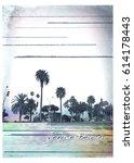 photo print california beach ... | Shutterstock . vector #614178443