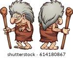 cartoon prehistoric grandma ... | Shutterstock .eps vector #614180867