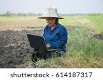 asian thai farmer using laptop... | Shutterstock . vector #614187317