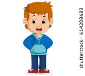 vector illustration of cute boy ... | Shutterstock .eps vector #614208683