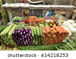 vegetables in the market at... | Shutterstock . vector #614218253