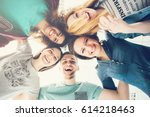 group of people in circle .... | Shutterstock . vector #614218463