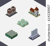 isometric building set of... | Shutterstock .eps vector #614230007