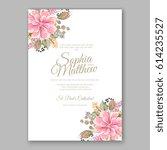 peony wedding invitation... | Shutterstock .eps vector #614235527