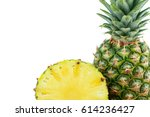 ripe tasty pineapple isolated... | Shutterstock . vector #614236427