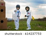 two adorable children  boy... | Shutterstock . vector #614237753