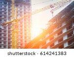 under construction high rise...   Shutterstock . vector #614241383