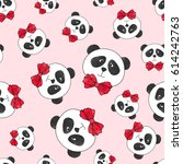 seamless panda pattern on pink. ... | Shutterstock .eps vector #614242763