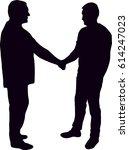 silhouette of man shaking hands ... | Shutterstock .eps vector #614247023